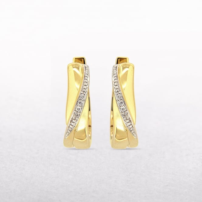 0.02ct Diamond Gold Curved Cuff Earrings