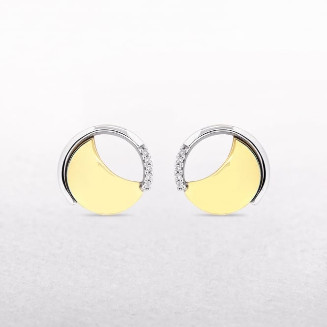 0.04ct Diamond Two Tone Disc Stud Earrings