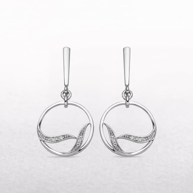 0.05ct Diamond Curved Circle Drop Earrings