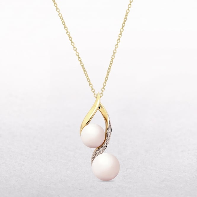 0.05ct Diamond & Two Freshwater Pearl Long Pendant