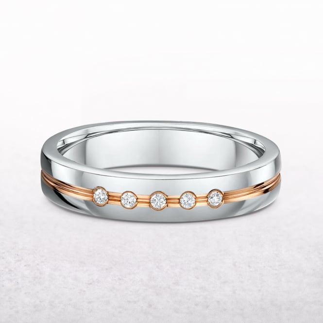 0.05ct Ladies White & Rose Gold Diamonds Set Wedding Band