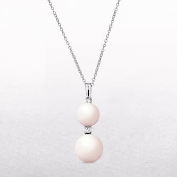 0.06ct Diamond & Freshwater Pearl Drop Pendant