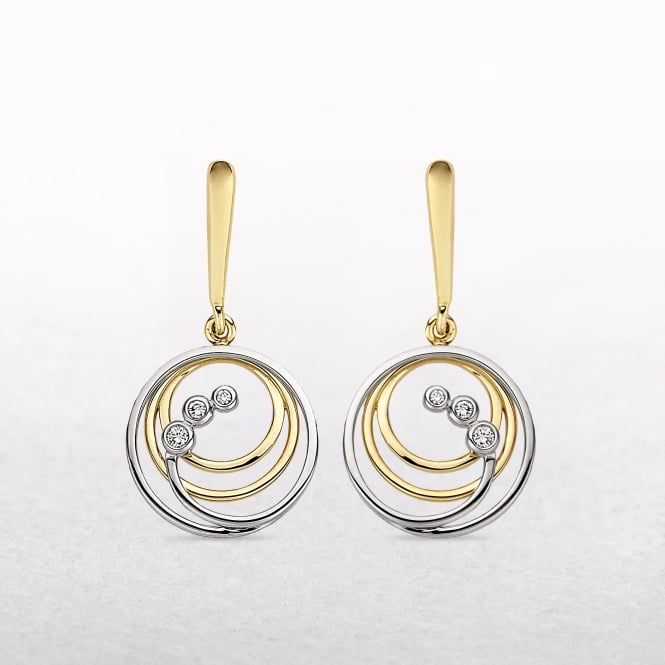 0.06ct Diamond Two Tone Multi Loop Drop Earrings