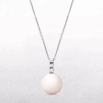 0.09ct Diamond & Freshwater Pearl Drop Gold Pendant