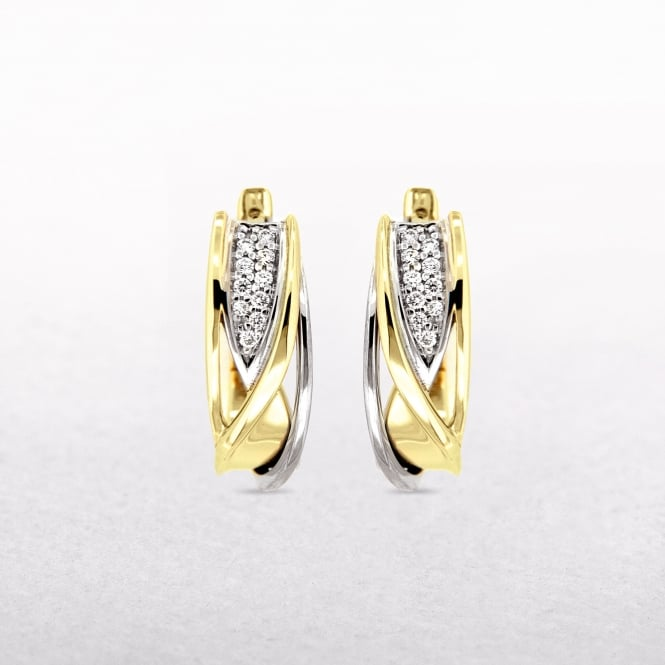 0.09ct Diamond Two Tone Curved Cuff Earrings