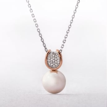 0.11ct Diamond & Rose Gold Pearl Pendant