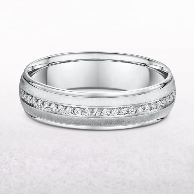 0.13ct White Gold Ladies Diamond Set Wedding Band