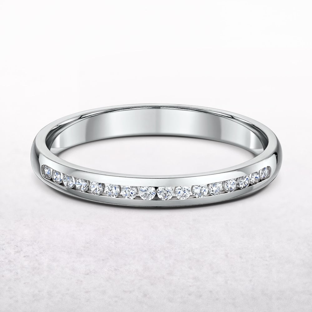 It is just a photo of 47.47ct Ladies White Gold Channel Set Diamond Wedding Band