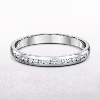 0.16ct Ladies White Gold Channel Set Diamond Wedding Band