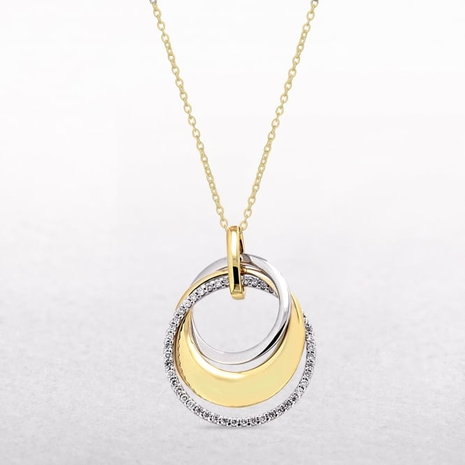 0.21ct Diamond Two Tone Multi Circular Pendant