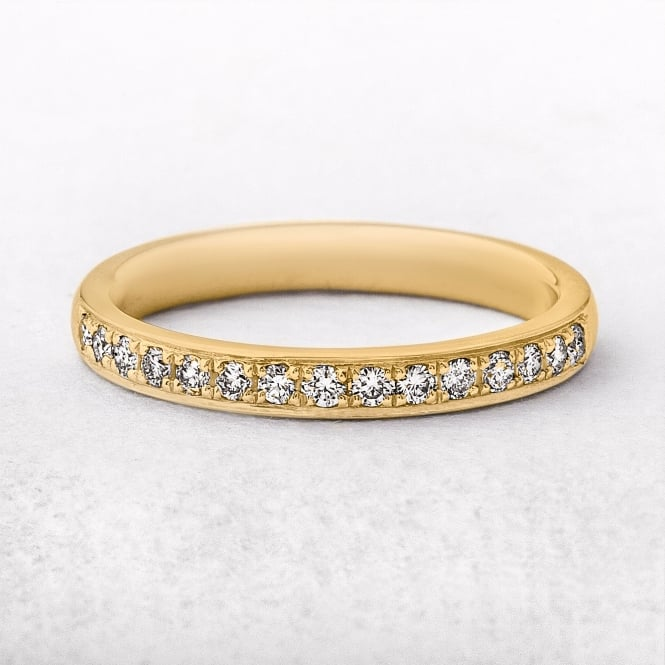 0.22ct Yellow Gold Diamond Grain Set Wedding Ring