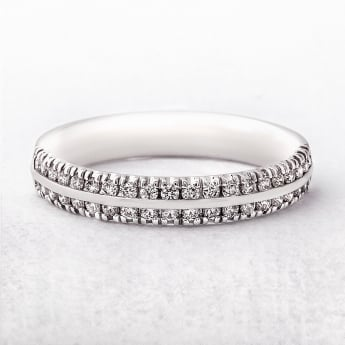 0.25ct White Gold Two Row Diamond Set Ring