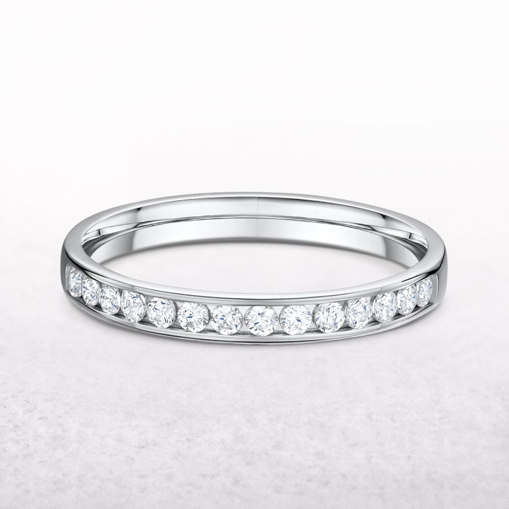 channel ct diamond ring p eternity tw set platinum in cut princess