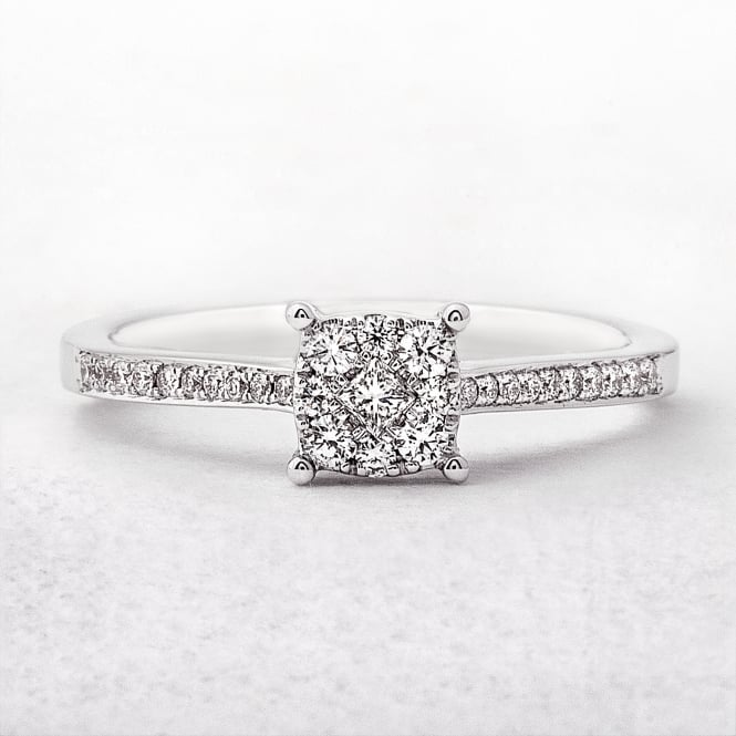 0.30ct White Gold Invisible Set Diamond Ring