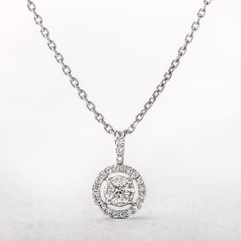 0.37ct Multi Stone Halo Style Diamond Pendant