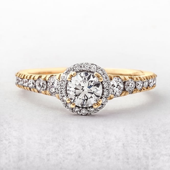 0.40ct Yellow Gold Solitaire Diamond Halo