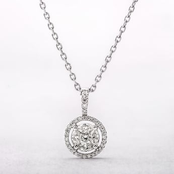 0.43ct Multi Stone Diamond Halo Pendant