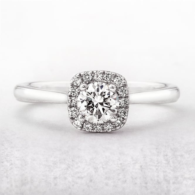 0.45ct Diamond Halo White Gold Engagement Ring