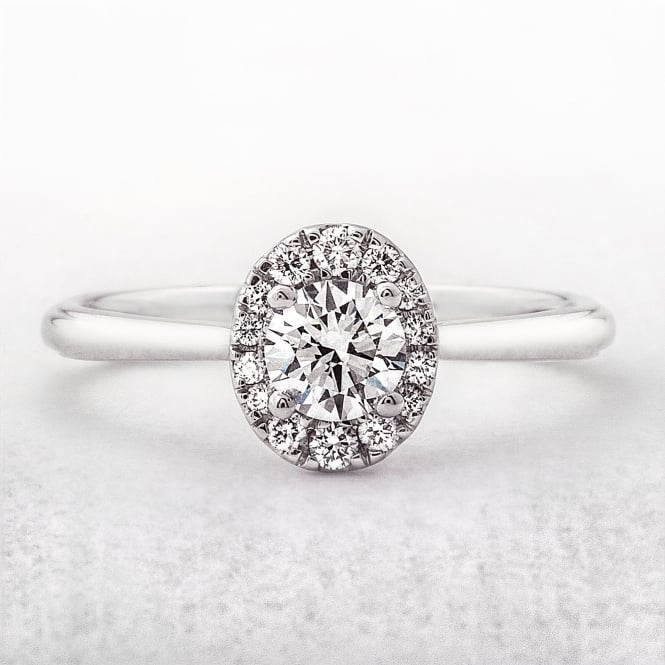 0.45ct Round Solitaire Halo Oval Shape Diamond Ring