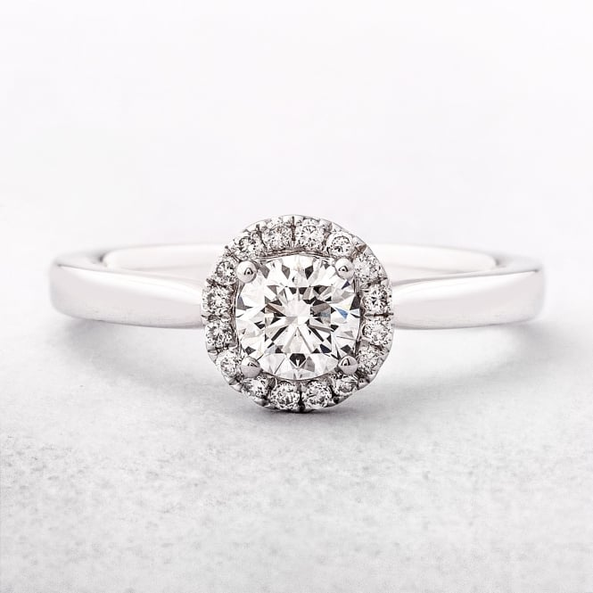 0.45ct White Gold Brilliant Halo Diamond Ring