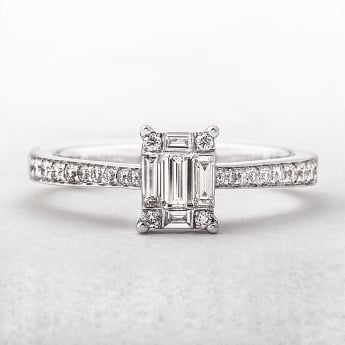 0.45ct White Gold Multi-Stone Emerald Cut Diamond Ring