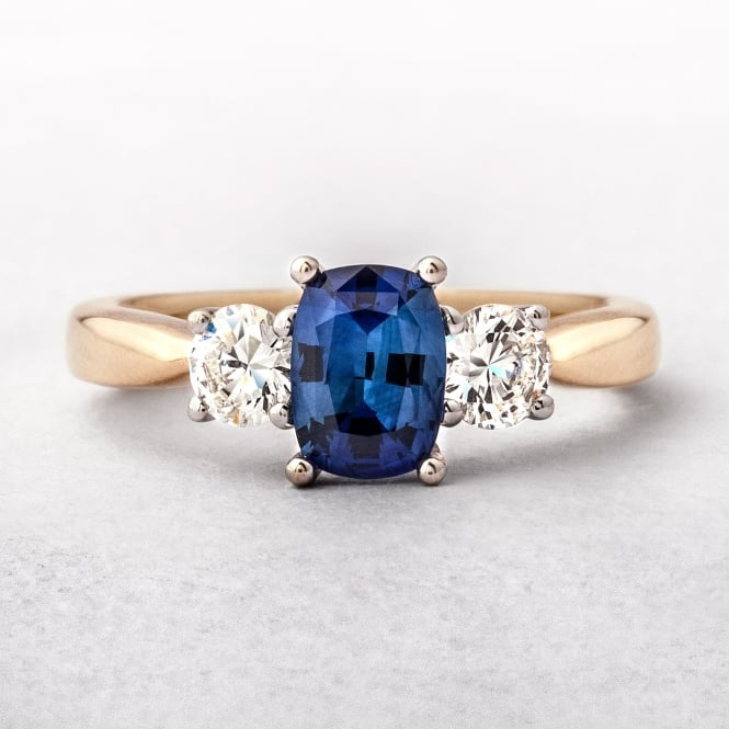 0.47ct Gold Sapphire & Diamond Three Stone Ring
