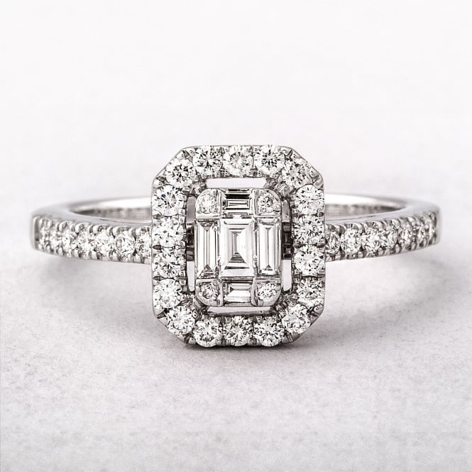 0.49ct White Gold Emerald Cut Style Halo Diamond Ring