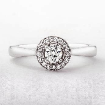 0.50ct Diamond Round Cut Halo Engagement Ring