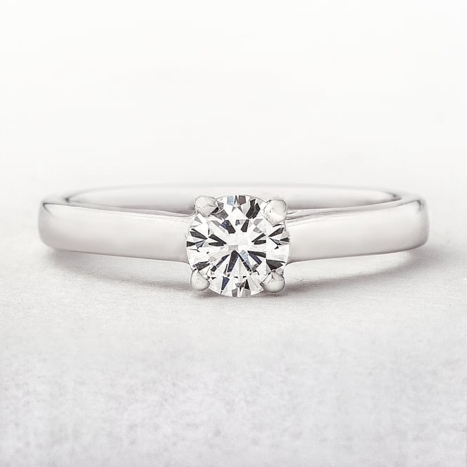 0.50ct White Gold Round Cut Solitaire Diamond Ring