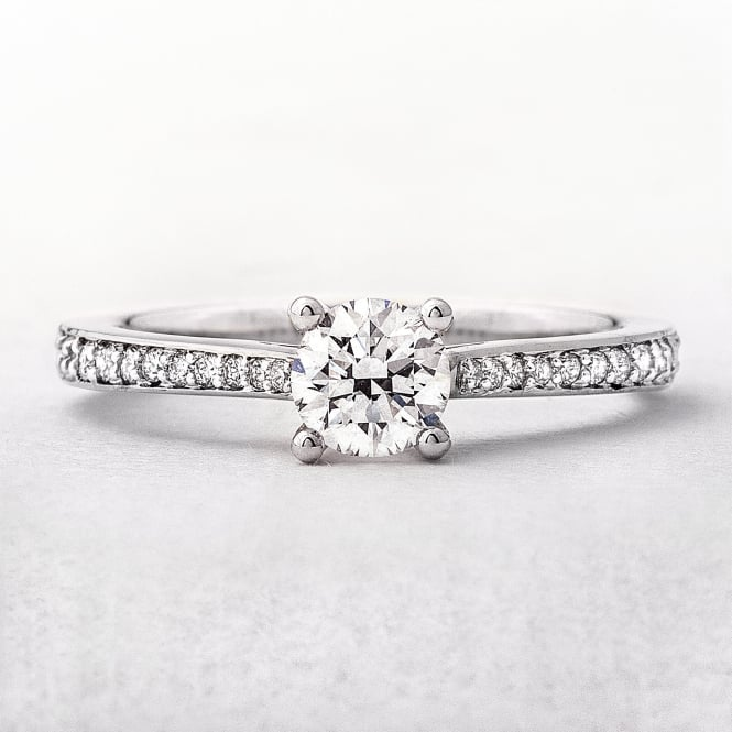 0.50ct White Gold Solitaire Pave Set Diamond Shoulders
