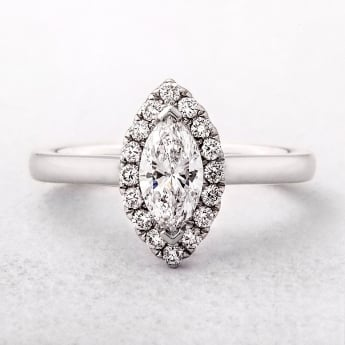 0.51ct Marquise Cut White Gold Halo Ring