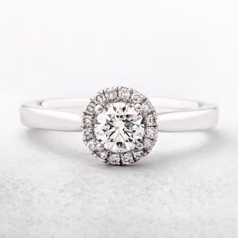 0.51ct Round Cut Diamond Halo Ring