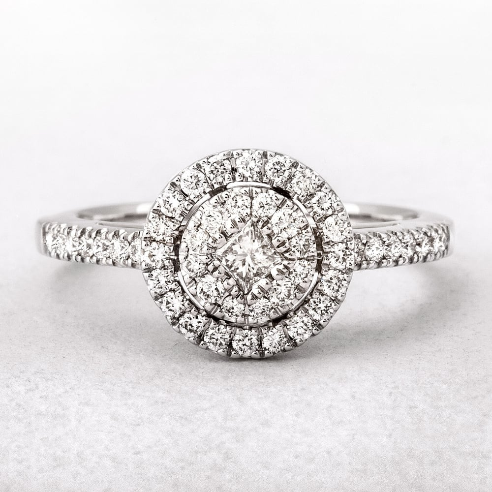 0 51ct White Gold Round Halo Style Diamond Ring