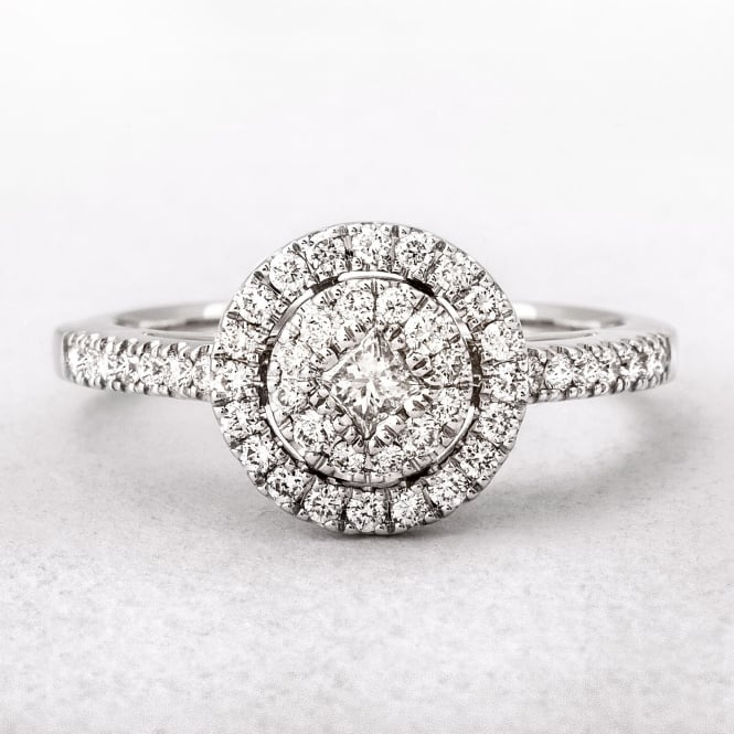 0.51ct White Gold Round Halo Style Diamond Ring