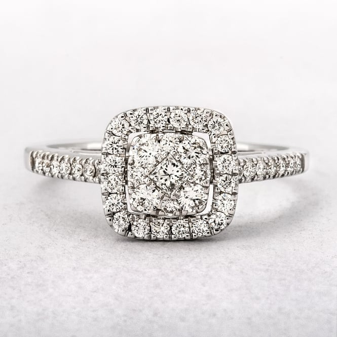 0.52ct White Gold Cushion Shape Halo Style Diamond Ring