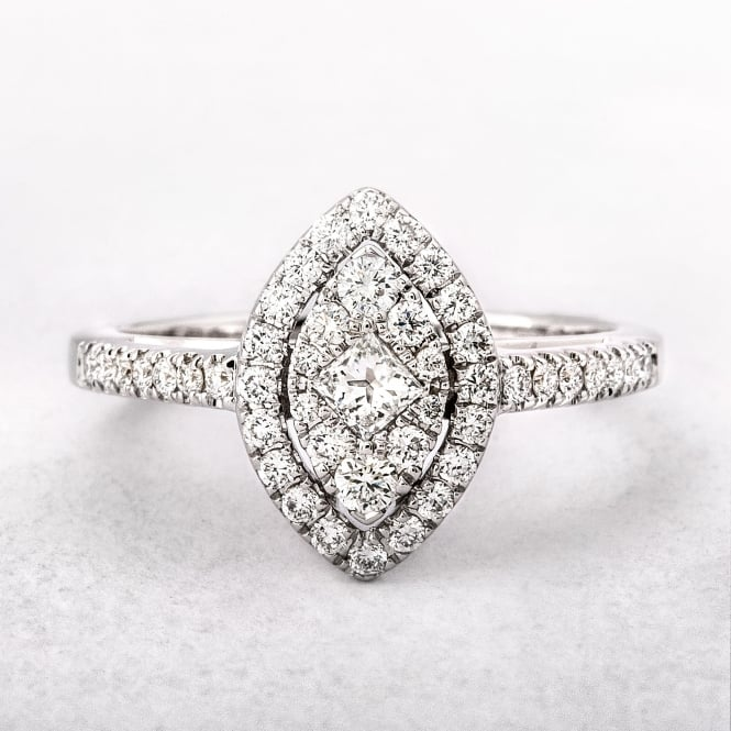0.53ct White Gold Marquise Shape Halo Style Ring