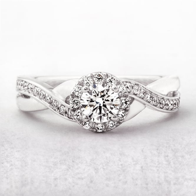 0.55ct Halo Twist Whiate Gold Diamond Solitaire