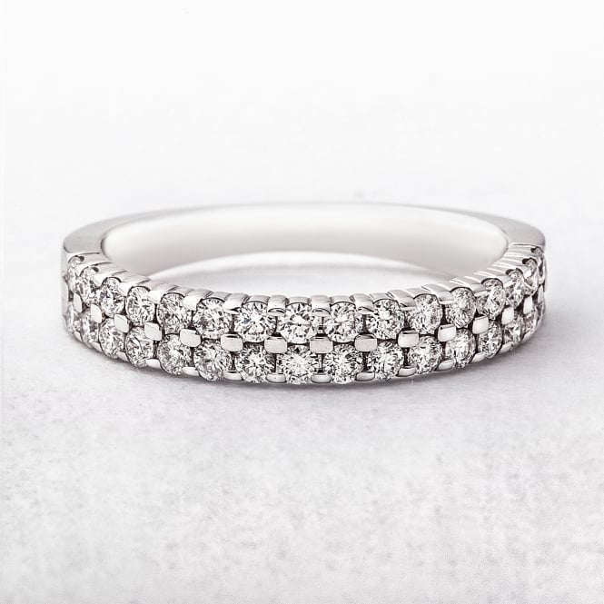 0.55ct White Gold Double Row Diamond Set Ring
