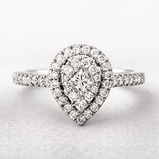 0.55ct White Gold Pear Shape Halo Style Diamond Ring