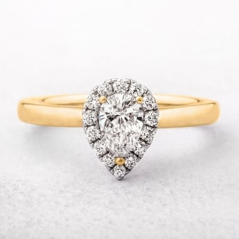 0.56ct Pear Halo Diamond Engagement Ring