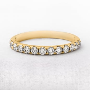 0.57ct Yellow Gold 13 Diamond Castel Set Wedding Ring