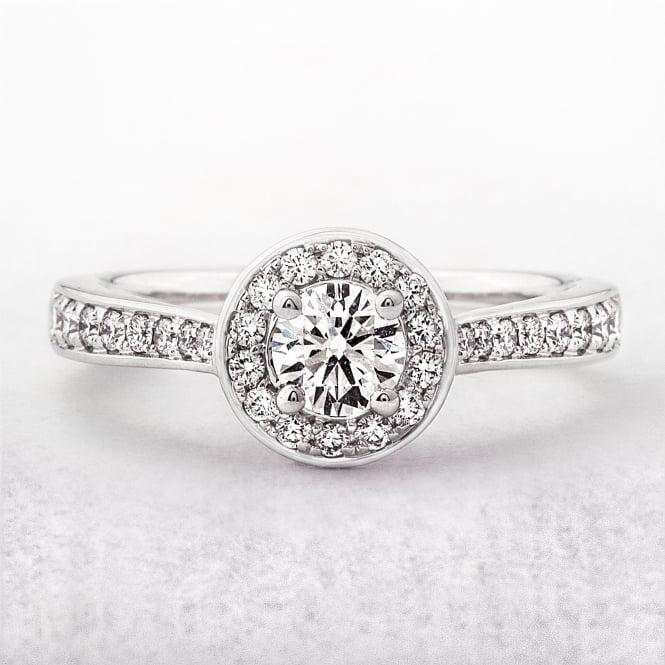 0.60ct Halo Diamond Pave Shoulders Engagement Ring