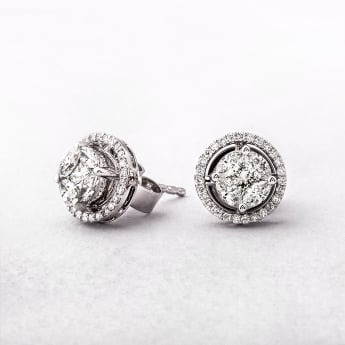 0.60ct Muti Stone Halo Diamond Stud Earrings