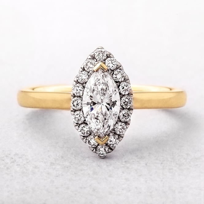 0.69ct Marquise Cut Diamond Halo Ring