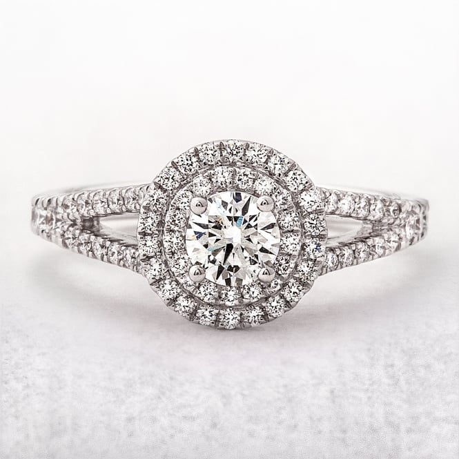 0.70ct Double Halo Split Diamond White Gold Dress Ring