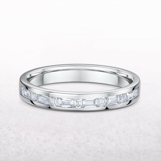 0.70ct Princess & Baguette Cut Diamond Wedding Band