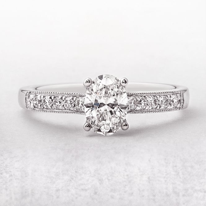0.70ct White Gold Oval Cut Diamond Ring