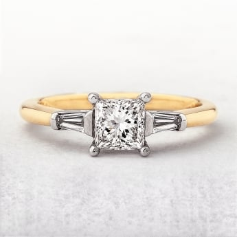 0.70ct Yellow Gold Princess Cut Ring with Baguette Sides