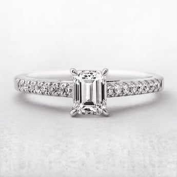 0.72ct Certified Emerald Cut Solitaire Ring in White Gold