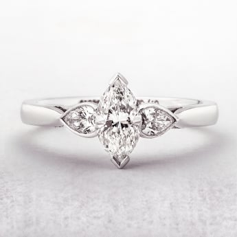 0.73ct Gold Marquise Cut Ring with Pear Shoulders